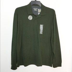 St. John's Bay L Polo Shirt Olive Long Sleeve NWT